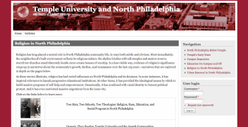 Screen shot of the Religion in North Philadelphia website