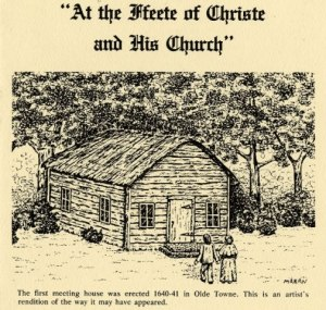 Cover of a book showing two people walking toward a old church building made out of log beams.